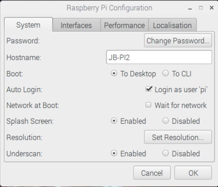Raspberry Pi Config: System